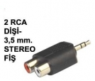 2 RCA DİŞİ TO 3,50 MM STEREO JAK ADAPTÖR