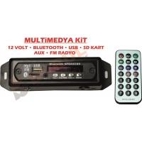 MULTİMEDYA KİT - BLUETOOTH, USB, SD, AUX, FM  12-220 VOLT OTO KULLANIMINA UYGUN