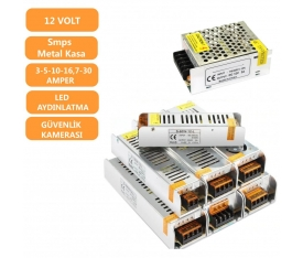 12 Volt Slim  Led ve Kamera Adaptör Trafo 3-5-10-16,5-30 Amper